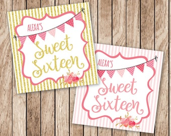 Printable Sweet Sixteen Tags, Personalized Printable Sweet 16 Tags, Printable Gold & Pink Favor Tags, Sweet Sixteen Birthday Party Tags