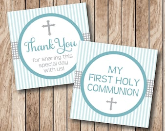 Instant Download . Printable Cross Communion Thank You Tags, Printable Communion Tags, Boy Communion Tags . Blue & Grey