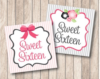 Instant Download . Printable Sweet Sixteen Flowers & Bows Tags . Printable Sweet 16 Favor Tags in Pink and Grey