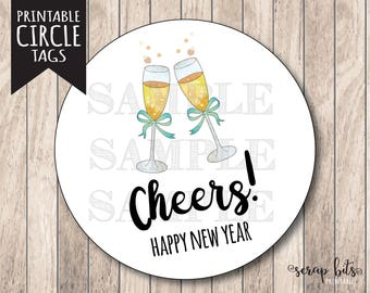 instant download happy new year tags cheers tags new years eve tag printable new years tags happy new year labels