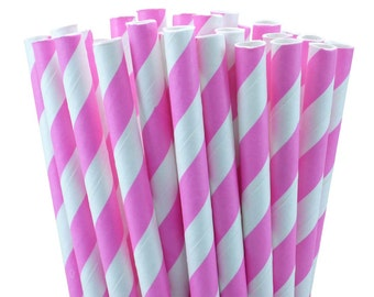 25 Pink Striped Paper Straws with Printable Party Flags PDF File