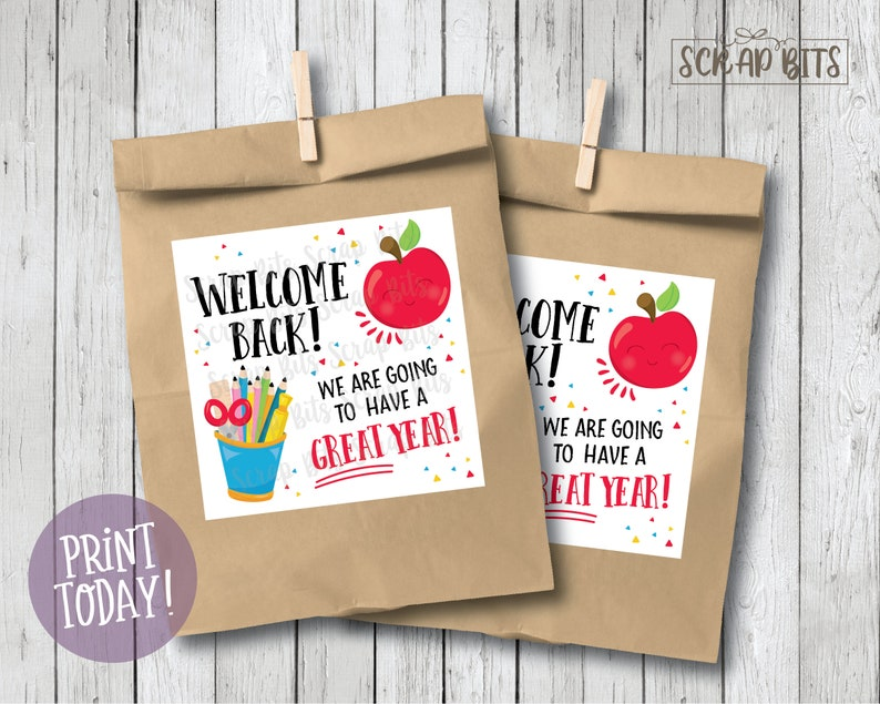 Welcome Back Tags . Printable Back to School Tags . Instant image 0