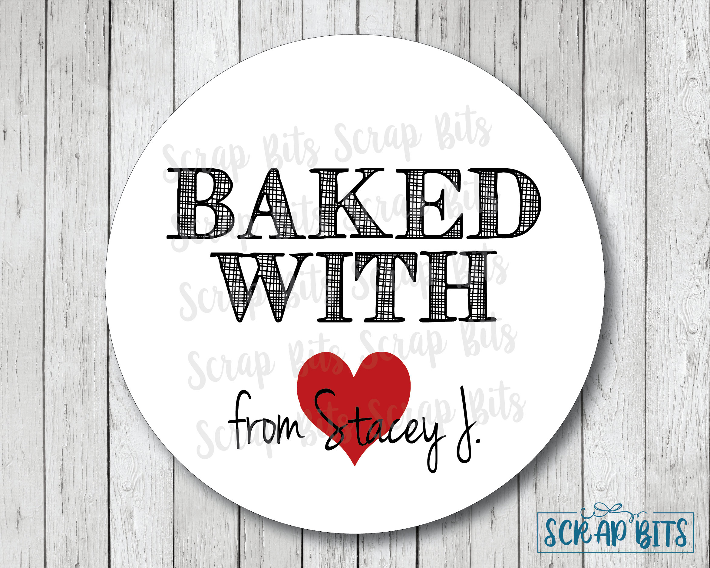 Baked with love stickers baked with heart personalized baked goods label baking labels or tags