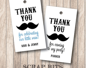 Mustache Thank You Favor Tags . Little Man Thank You Tags (Qty. 10)