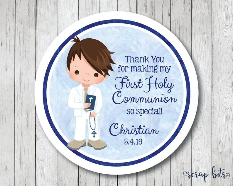 Personalized First Communion Stickers Boy Communion Tags Communion Labels First Holy Communion Favor Tags Watercolor Communion Tags