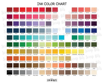 Ink Color Chart for Personalized Invitations, Stickers & Tags . Printed Sample Ink Chart