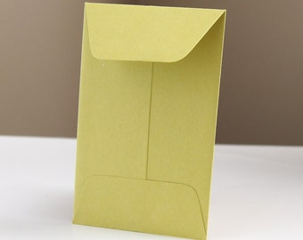 10 Open End Baby Envelopes in Chartreuse (Green) .  2.25 x 3.5
