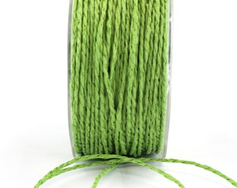 Parrot Green Paper Cord Ribbon . 10 yards
