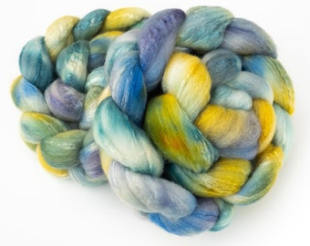 BFL TUSSAH silk, Bluefaced Leicester, Verrano, hand spinning fibre,  hand dyed roving, felting fibre, weaving, spinning wool, Spindling silk