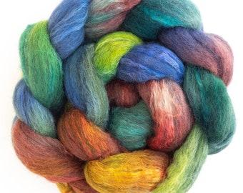 Grey CORRIEDALE TUSSAH silk tops, hand painted Corriedale silk, hand dyed fibre, Coast Road, hand dyed fiber, felting wool,