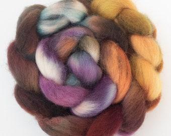 Hand dyed fibre top, DEVON CLOSE WOOL, Dittisham, spinning wool, spindling, hand dyed English wool top, felting wool, heritage breed, fiber