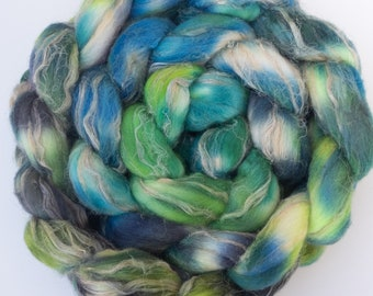 177g, Hand dyed Merino Tussah Silk, Flax, Natural Flax, Hand dyed Merino, spinning, felting fibre, Unique blend, Sirena, Hand dyed fibre