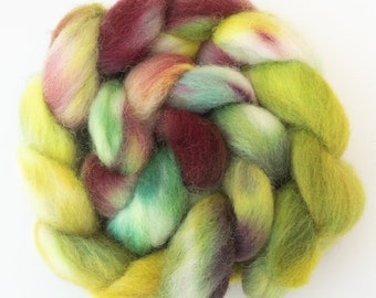 Hand dyed fibre top, DEVON CLOSE WOOL, Folly Gate, spinning wool, spindling, hand dyed English wool top, felting wool, heritage breed, fiber