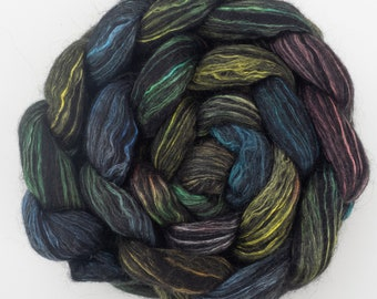 Hand dyed luxury fibre, Superfine Alpaca, Falklands, Mulberry silk, Sorcery, Merino, hand dyed  top, wet felting fibre, hand spinning, fiber