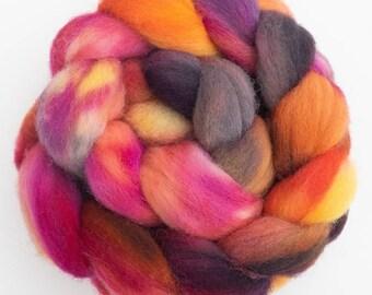 CHAROLLAIS wool tops, hand dyed Charollais, hand dyed fiber, spindling, Tropical Bird, hand spinning, felting wool, spinning wool, fiber