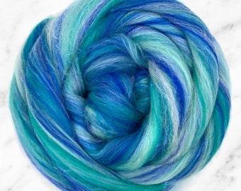 Blended Merino Stellina, Sparkly spinning fibre, Merino blended fibre, spindling wool tops, Stellina braid, hand spinning fibre, Nuno felt