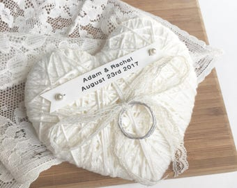 Ivory Heart Wedding Ring Bearer Pillow-reuse as Christmas ornament-custom tag-lace, ribbon, string-wedding ceremony, wedding ring holder