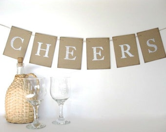 Cheers Banner - silver glitter letters  - wedding decor,birthday party,dinner party,thanksgiving dinner,  Christmas dinner, New Years decor