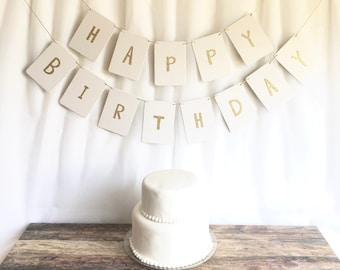 Happy Birthday Banner-thick white durable chipboard-choose different letter colors- fresh blossom font- birthday party, home decor, glitter