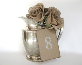 Wedding Decor - rectangle silver glitter wedding table numbers - 1 - 10 -  pick color and shape- wedding ceremony - natural rustic elegance