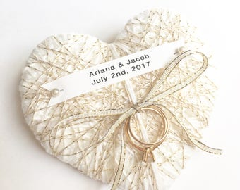 Wedding Ring Bearer Pillow-ivory and gold- reuse as Christmas ornament-custom tag-wedding decor, wedding ceremony, wedding ring holder
