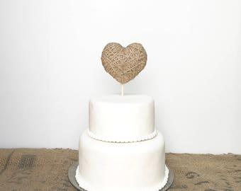 Birthday Cake Topper-jute heart cake topper - wedding cake topper, anniversary cake, baby shower cake topper, bridal shower, valentines