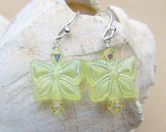 Leamon yellow Butterfly Beaded Earrings, Handmade by Harleypaws, SRAJD