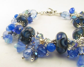 Blue Lampwork Beaded Charm Bracelet, Handcrafted Charms, Handmade by Harleypaws, SRAJD