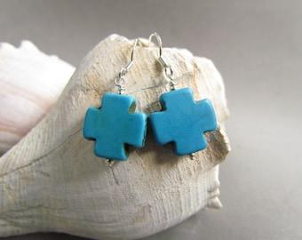 Beaded Turquoise Cross Earrings, Howelite Beads, Gift Giving, Dangle Earrings, Cowgirl, Western Fashion, Harleypaws, SRAJD