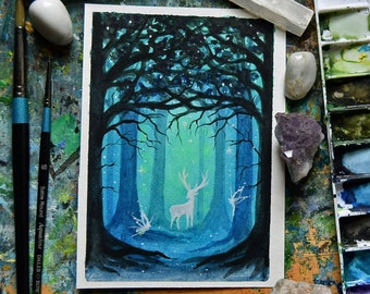 """Stag, Magical forest, fairyland, magical forest, 4 x 6"""" original acrylic"""