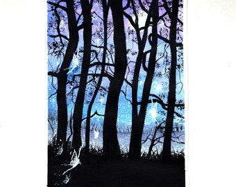 "7 x 10"" original watercolour, Fairy, Magical forest, fairyland,"