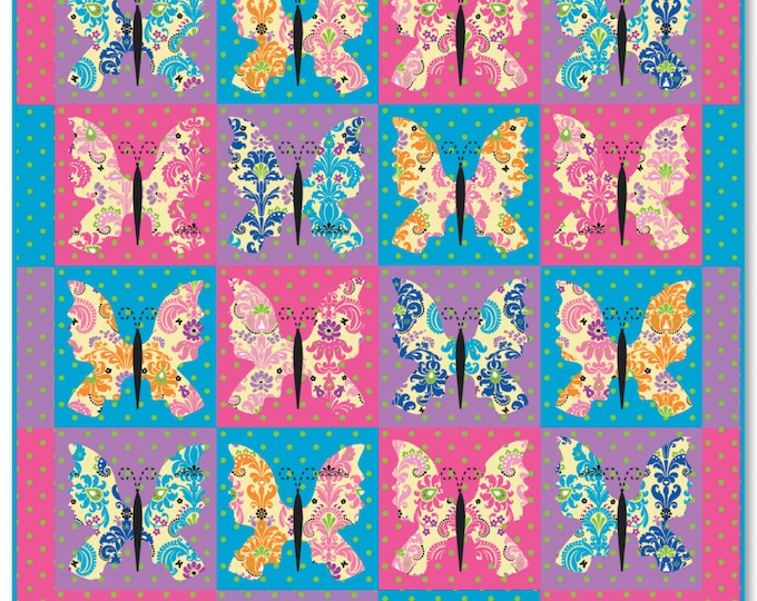 PDF Digital Download of the Bohemian Butterflies Twin Size Quilt Pattern - Ellen Medlock Studio Design (#115X )