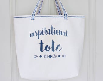 CLEARANCE Inspirational Tote - Handbag - Beach Bag - Lined Tote with Pocket - Ready to Ship
