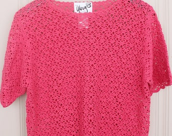 Vintage Glory B by Gloria Furman Silk Crochet Short Sleeve Top - Pink - Size Medium