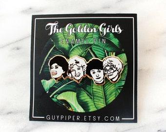 Golden Girls Enamel Pin - The Golden Girls Brooch - Gold and White Hard Enamel Pin