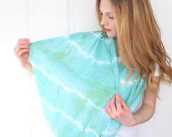 Hand Dyed Cotton Gauze Infinity Scarf - Circle Scarf - Spring/Summer Scarf - Blue Green Stripe Scarf