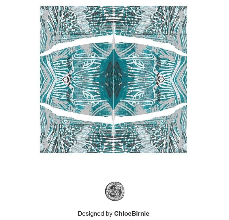 Porthole blue linocut design purse