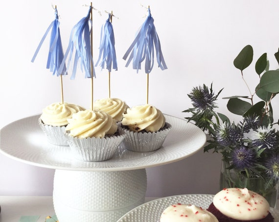 Mini-Tassel Cupcake Toppers - Bluebell