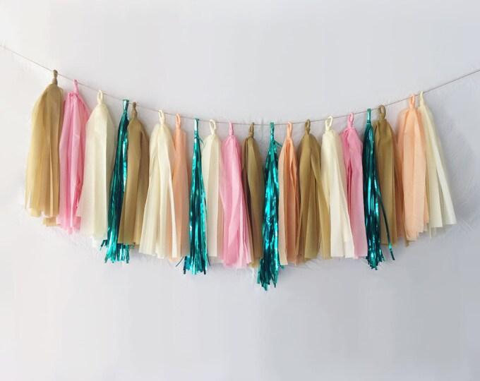 Featured listing image: Bronze, Pink, & Emerald Tassel Garland