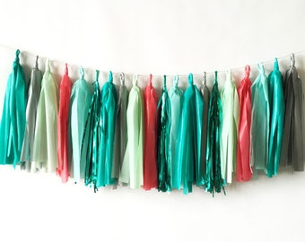 Coral and Teal Tassel Garland