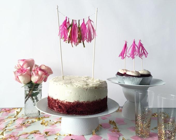Featured listing image: Mini-Tassel Cake Topper - Pinks