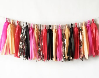 New! Pink and Black Tassel Garland