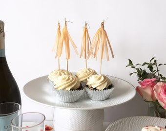 Mini-Tassel Cupcake Toppers - Peach