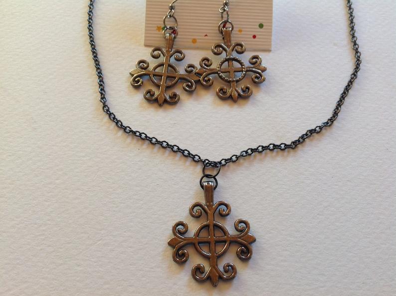 Gunmetal cross necklace set