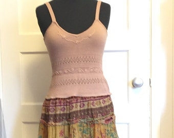 Tan upcycled summer dress