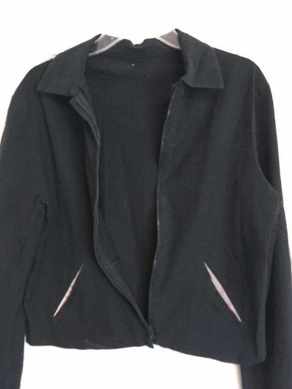 minimalist black spandex jacket medium 90s