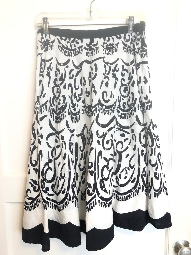 vintage cotton graphic blue and white Indian sequined skirt label Angie small