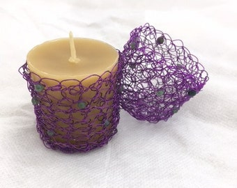 A Pair of Wire Crochet Candle Holders with Beeswax Votives