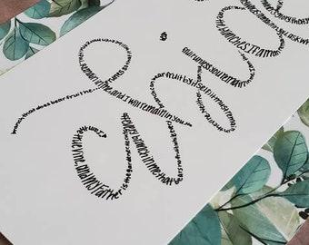 Abide Handwritten Word Art | John 15:1-8 | 5x7 Reproduction Piece | Unframed