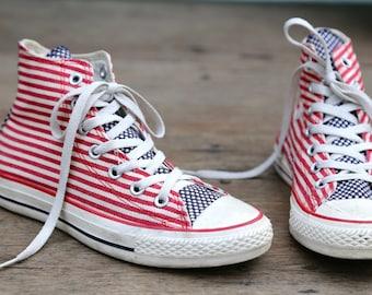 2661b3d01999 Americana Chuck Taylor Converse Chucks American Flag Red White Blue Mens 5  Sneakers High Top